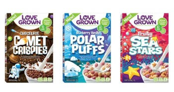 Love Grown Kids Cereals: All natural, vegan & made with beans! Blueberry Vanilla Polar Puffs, Chocolate Comet Crispies, and Fruity Sea Stars