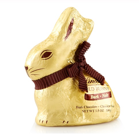 Dairy-Free Chocolate Easter Bunny Round-Up - Lindt Gold Foil Dark Chocolate Bunny Pictured
