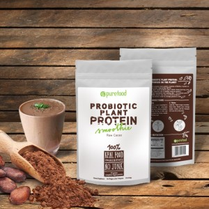 Pure Food Probiotic Plant Protein Powder - 100% Real Food, No Junk. Dairy-free, vegan, gluten-free, soy-free.
