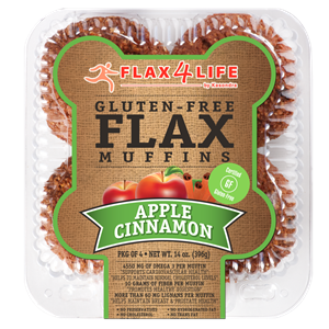 Flax4Life Flax Muffins Reviews and Info - dairy-free, gluten-free, nut-free, and oh-so hearty! These are packed with fiber, omega 3s, and deliciousness. Pictured: Apple Cinnamon