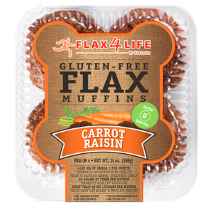 Flax4Life Flax Muffins Reviews and Info - dairy-free, gluten-free, nut-free, and oh-so hearty! These are packed with fiber, omega 3s, and deliciousness. Pictured: Carrot Raisin (singles available)