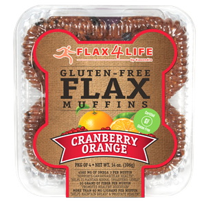 Flax4Life Flax Muffins Reviews and Info - dairy-free, gluten-free, nut-free, and oh-so hearty! These are packed with fiber, omega 3s, and deliciousness. Pictured: Cranberry Orange