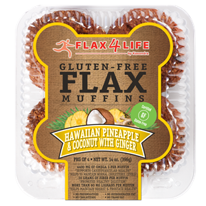 Flax4Life Flax Muffins Reviews and Info - dairy-free, gluten-free, nut-free, and oh-so hearty! These are packed with fiber, omega 3s, and deliciousness. Pictured: Hawaiian Pineapple and Coconut with Ginger