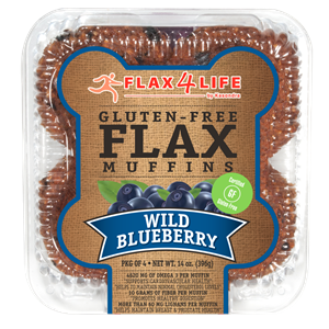 Flax4Life Flax Muffins Reviews and Info - dairy-free, gluten-free, nut-free, and oh-so hearty! These are packed with fiber, omega 3s, and deliciousness. Pictured: Wild Blueberry (single serves also available)