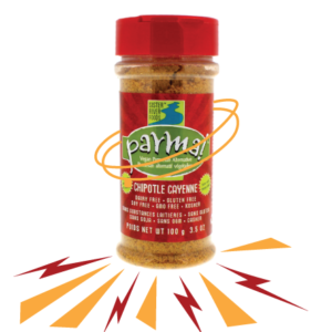 Parma! Vegan Parmesan Reviews and Info (Dairy-Free, Paleo, and Gluten-Free) - 4 varieties. Pictured: Chipotle Cayenne