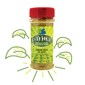 Parma! Vegan Parmesan Reviews and Info (Dairy-Free, Paleo, and Gluten-Free) - 4 varieties. Pictured: Garlicky Green