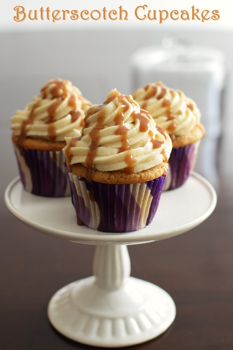 Vegan Butterscotch Cupcakes - over the top! Three recipes in one: eggless brown sugar cupcakes, vanilla dairy-free buttercream, and a quick butterscotch sauce.
