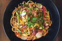 Chilled Noodles in Spicy Sauce Recipe - easy, gluten-free, vegan, loaded with vegetables and rich in flavor!