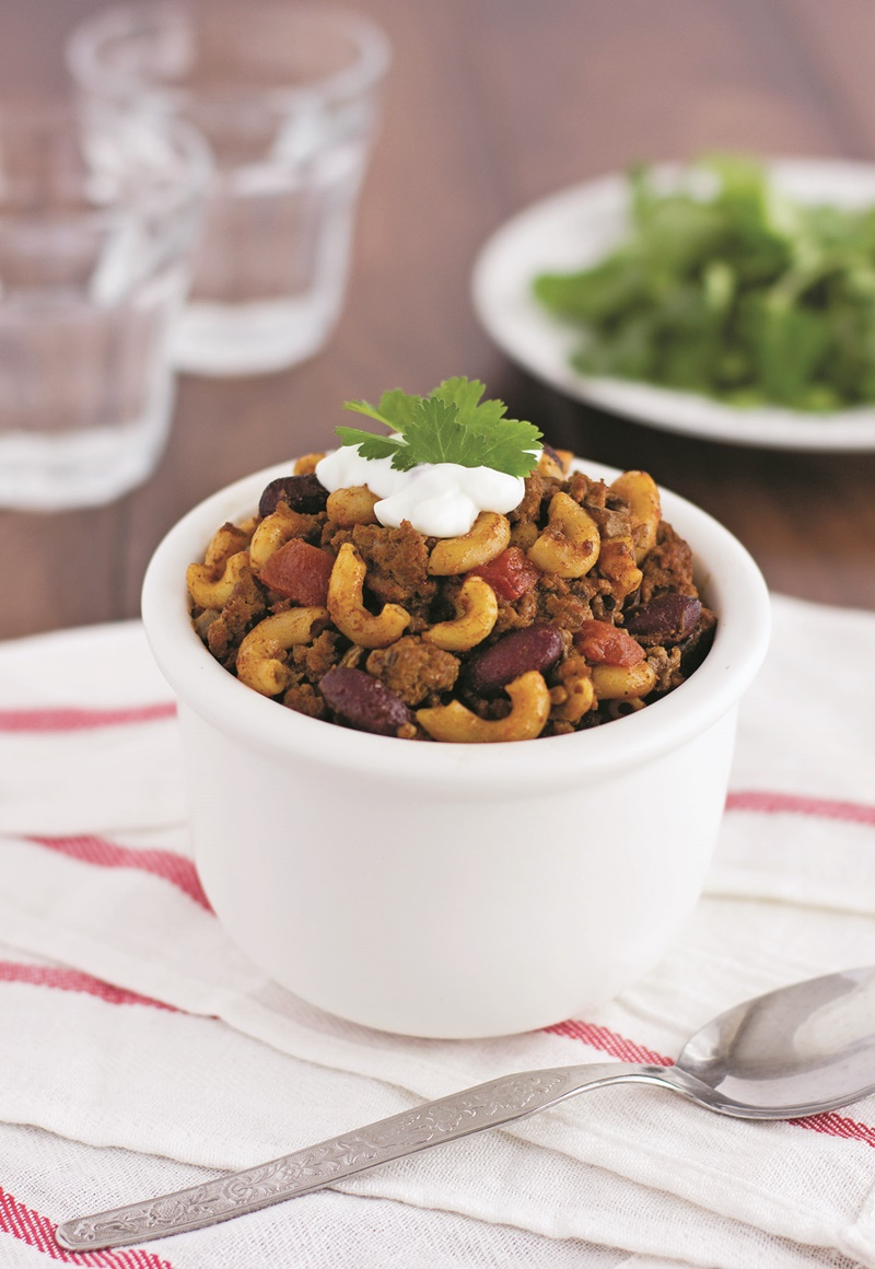 One-Pot Chili Mac with Sneaky Mushrooms - simple family-friendly recipe that's dairy-free, gluten-free, and allergy-friendly. Vegetarian option included.