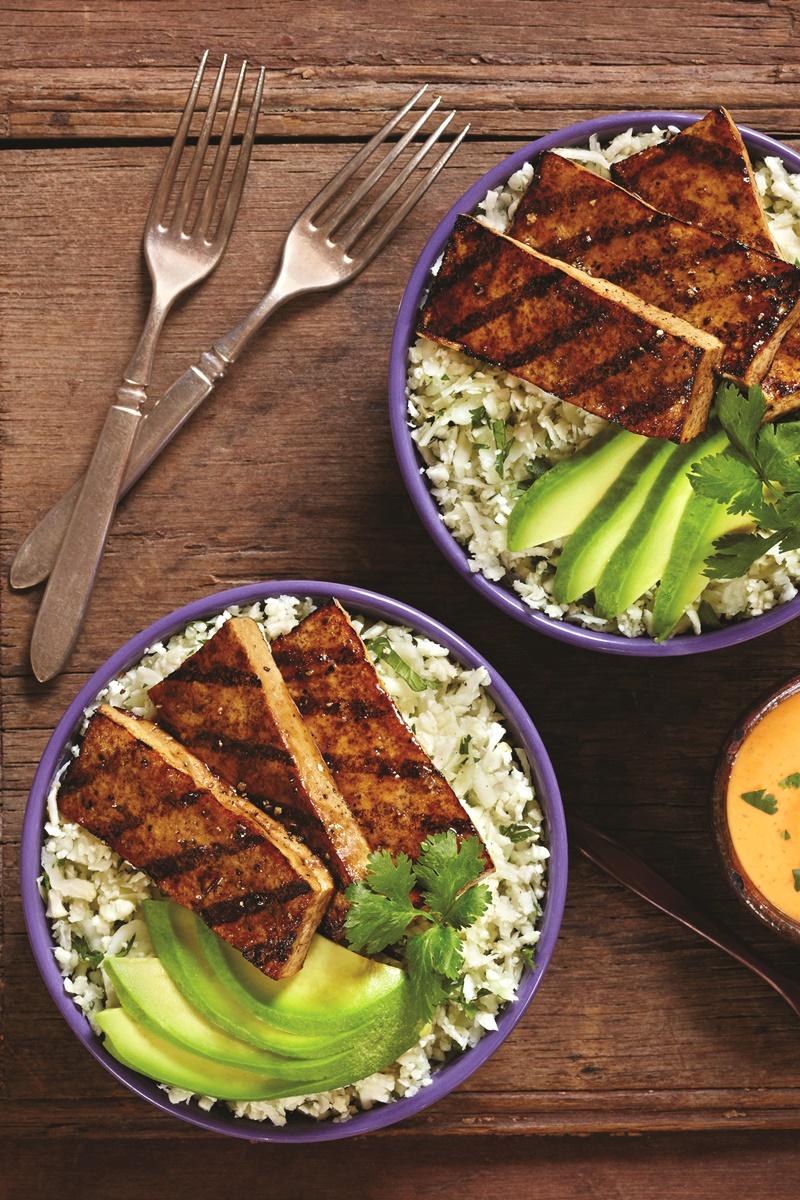 Balsamic Grilled Tofu With Cilantro Cauliflower Rice Recipe