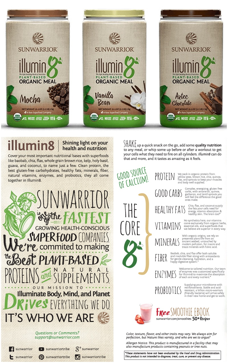 Sunwarrior Illumin8 Plant-Based Organic Meal with 8 Building Blocks of Nutrition - dairy-free, vegan, raw superfoods for smoothies!