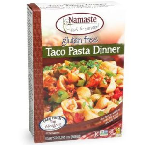Namaste Pasta Dinners Reviews and Info - dairy-free, gluten-free, and top allergen-free convenience meals in a box. Pictured: Taco Dinner