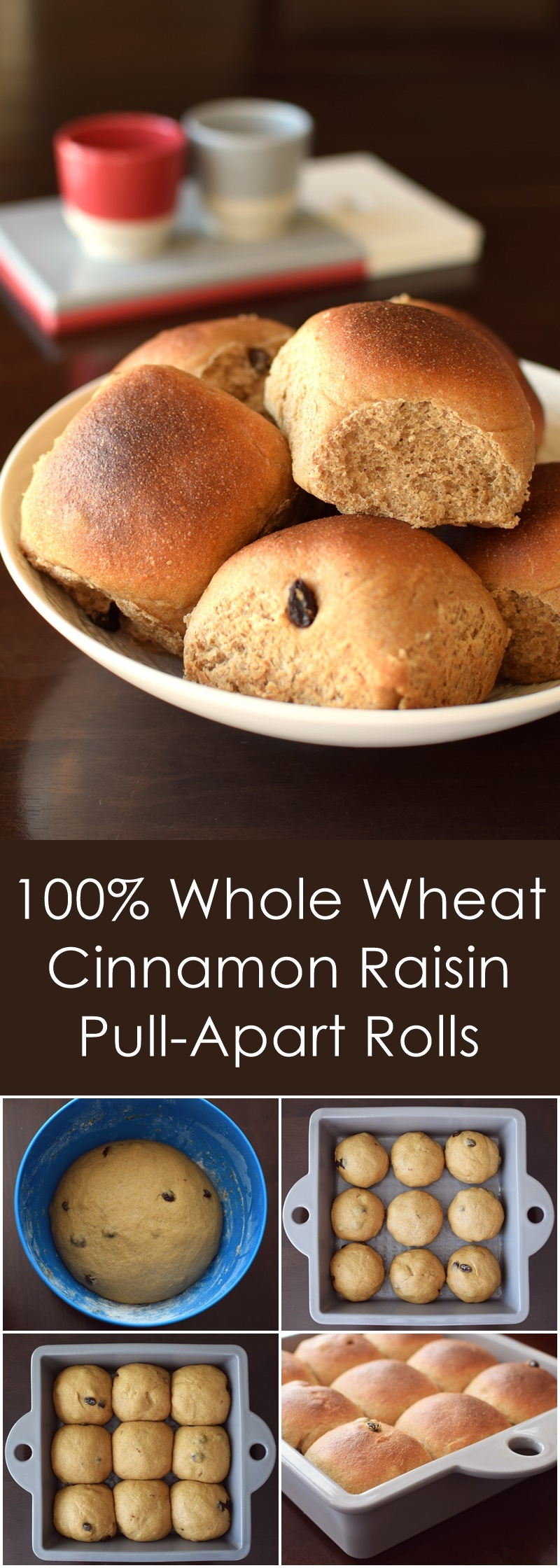 100% Whole Wheat Cinnamon Raisin Rolls Recipe - perfect, tender, dairy-free & vegan pull-aparts