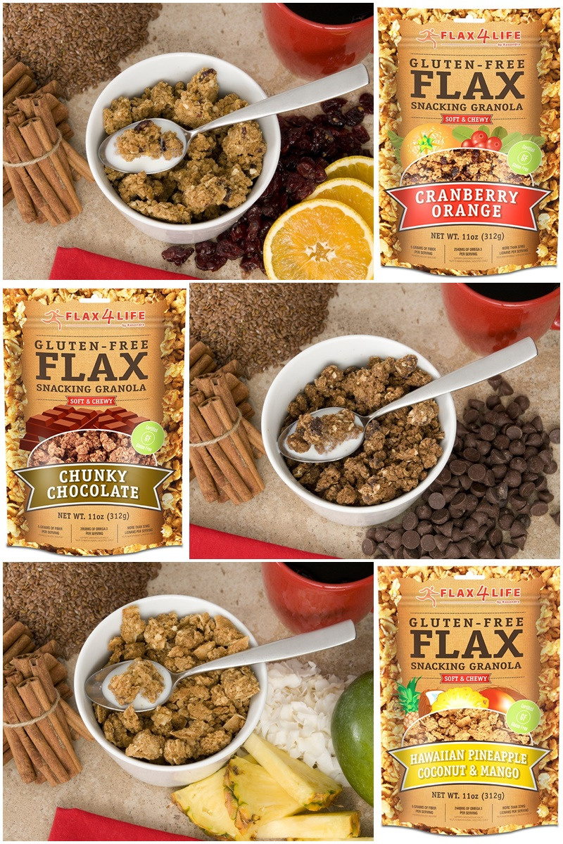 Flax4Life Flax Snacking Granola - Big, soft, chewy clusters made with all-natural gluten-free, dairy-free, nut-free ingredients.