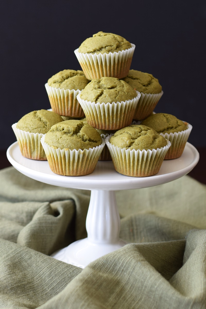 Matcha Latte Mini Muffins - warm, mild green tea flavor, soft cupcake-like crumb, but a pure whole wheat, dairy-free & vegan recipe.