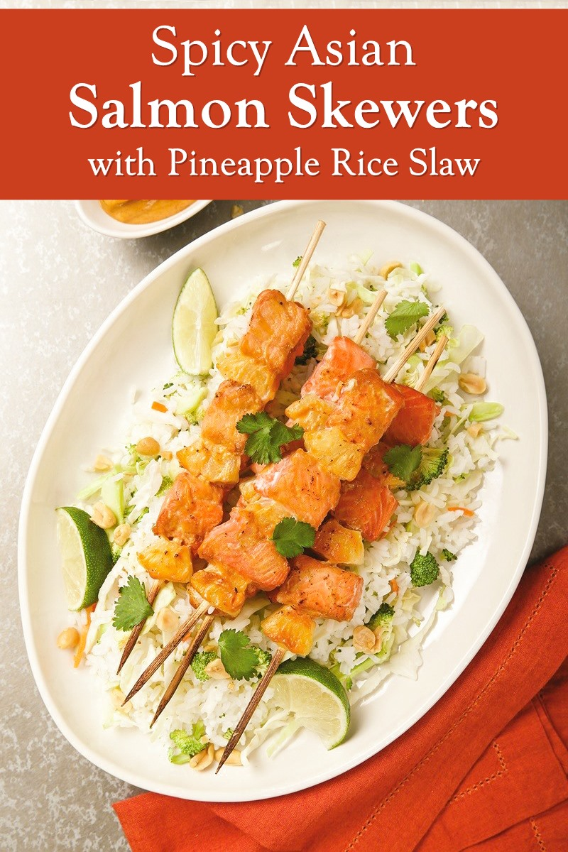 Spicy Asian Salmon Skewers with Pineapple Rice Slaw Recipe
