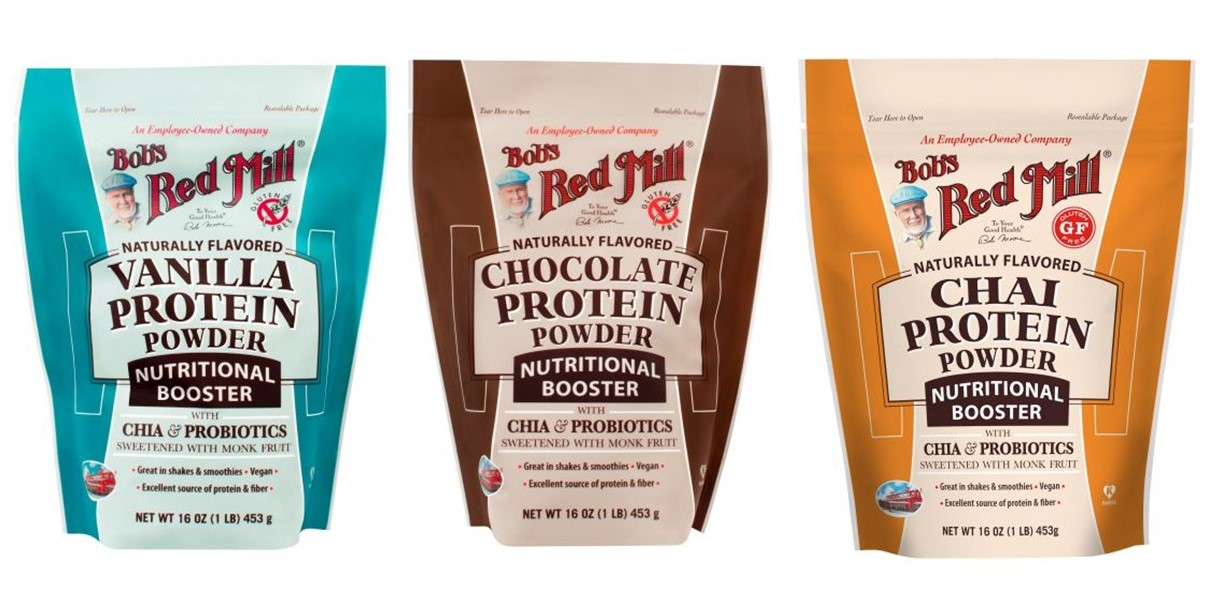 Bob's Red Mill Nutritional Booster Protein Powders Reviews and Info - Dairy-free, gluten-free, plant-based protein powders with fiber, probiotics, prebiotics, and omegas. Available in Vanilla, Chai, Chocolate, and Unflavored