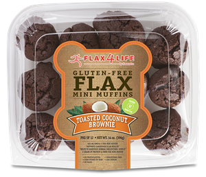 Flax4Life Flax Brownies Reviews and Information - Dairy-Free, Gluten-Free, Grain-Free, Nut-Free. Pictured: Toasted Coconut