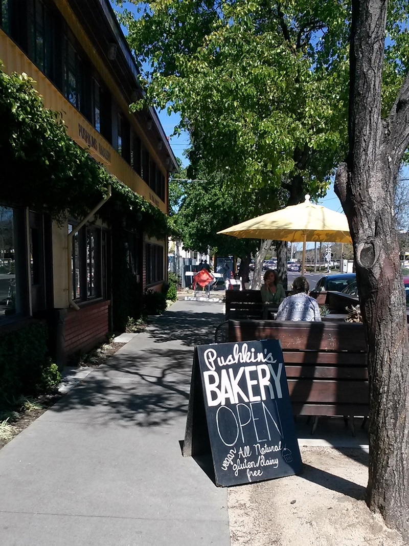 Pushkin's Bakery in Sacramento is completely dairy-free & gluten-free. They offer fresh sandwiches, tons of baked goodies, and custom cake orders.