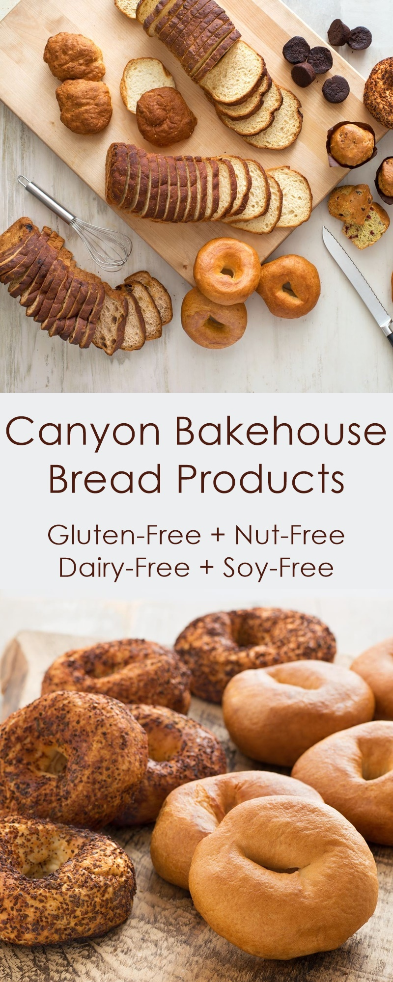 Canyon Bakehouse Gluten-Free Bread Products - bagels, loaves and buns, all dairy-free, nut-free and soy-free