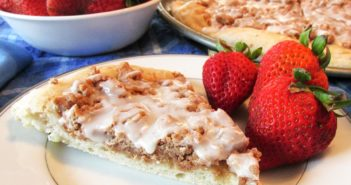Vegan Cinnamon Streusel Dessert Pizza Recipe - dairy-free, egg-free, nut-free, soy-free, and family friendly! Kids can even help bake it.