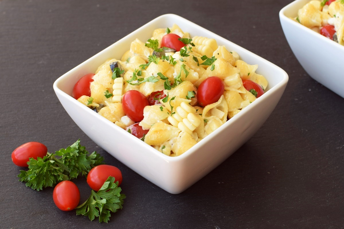 Creamy Dairy Free Ranch Pasta Salad Recipe (optionally vegan, soy-free & gluten-free)