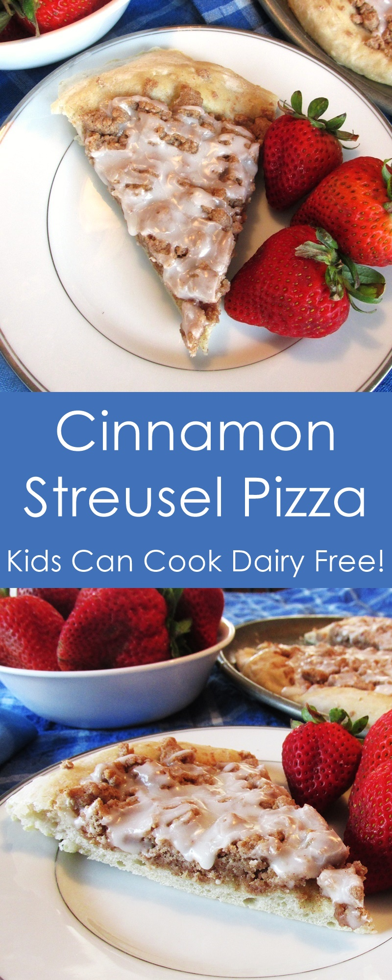 Vegan Cinnamon Streusel Dessert Pizza Recipe - a kids can cook dairy-free, egg-free, nut-free dessert! (gluten-free optional)
