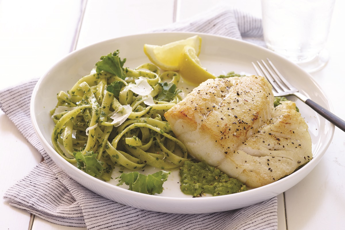 Pan-Seared Cod over Minted Pea Puree