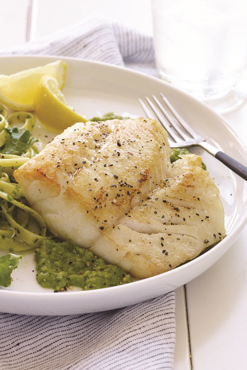 22 Healthy Winter Recipes (all dairy-free!) - Olympian Pan-Seared Cod over Minted Pea Puree pictured