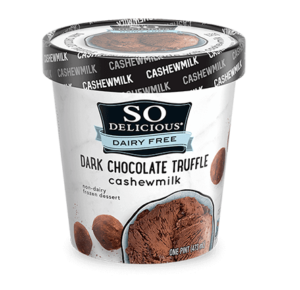 So Delicious Cashew Milk Ice Cream Reviews and Info. Creamy, Dairy-Free, Vegan. Pictured: Dark Chocolate Truffle