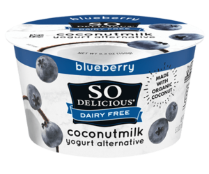 So Delicious Dairy Free Coconut Milk Yogurt Reviews and Information (Dairy-Free, Soy-Free, Gluten-Free, and Vegan). Pictured: Blueberry
