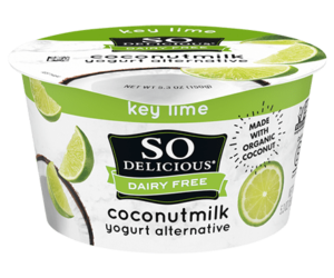 So Delicious Dairy Free Coconut Milk Yogurt Reviews and Information (Dairy-Free, Soy-Free, Gluten-Free, and Vegan). Pictured: Key Lime