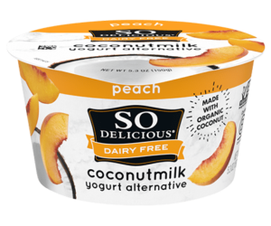 So Delicious Dairy Free Coconut Milk Yogurt Reviews and Information (Dairy-Free, Soy-Free, Gluten-Free, and Vegan). Pictured: Peach