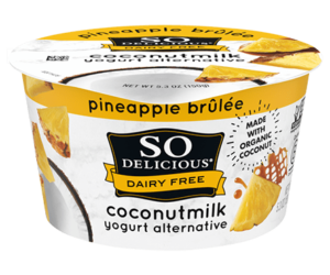 So Delicious Dairy Free Coconut Milk Yogurt Reviews and Information (Dairy-Free, Soy-Free, Gluten-Free, and Vegan). Pictured: Pineapple Brulee