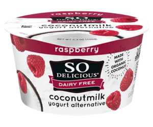 So Delicious Dairy Free Coconut Milk Yogurt Reviews and Information (Dairy-Free, Soy-Free, Gluten-Free, and Vegan). Pictured: Raspberry