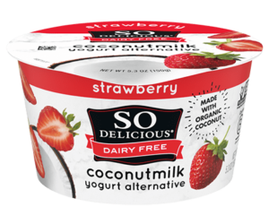 So Delicious Dairy Free Coconut Milk Yogurt Reviews and Information (Dairy-Free, Soy-Free, Gluten-Free, and Vegan). Pictured: Strawberry