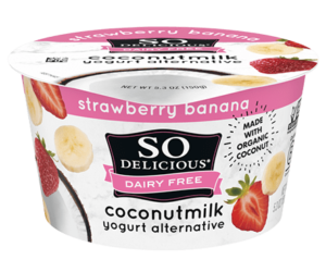 So Delicious Dairy Free Coconut Milk Yogurt Reviews and Information (Dairy-Free, Soy-Free, Gluten-Free, and Vegan). Pictured: Strawberry Banana