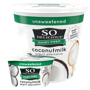 So Delicious Dairy Free Coconut Milk Yogurt Reviews and Information (Dairy-Free, Soy-Free, Gluten-Free, and Vegan). Pictured: Unsweetened Plain