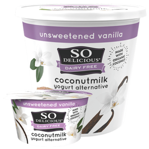So Delicious Dairy Free Coconut Milk Yogurt Reviews and Information (Dairy-Free, Soy-Free, Gluten-Free, and Vegan). Pictured: Unsweetened Vanilla