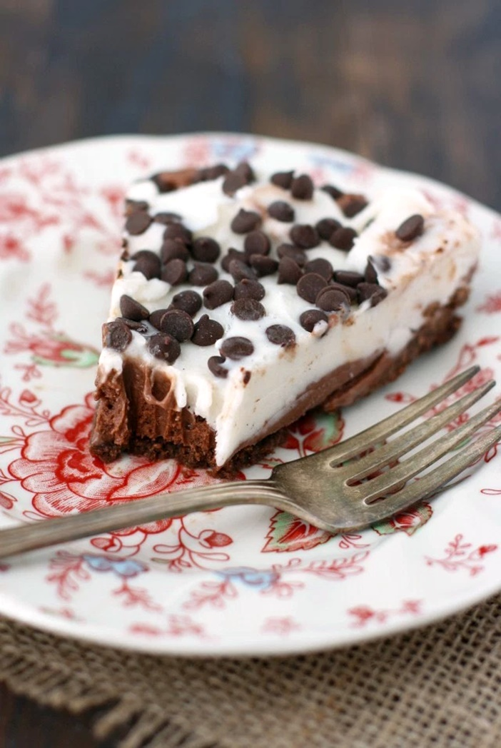 20 Dairy-Free Recipes Using Chocolate Ice Cream (Frozen Chocolate Chip Pie pictured)