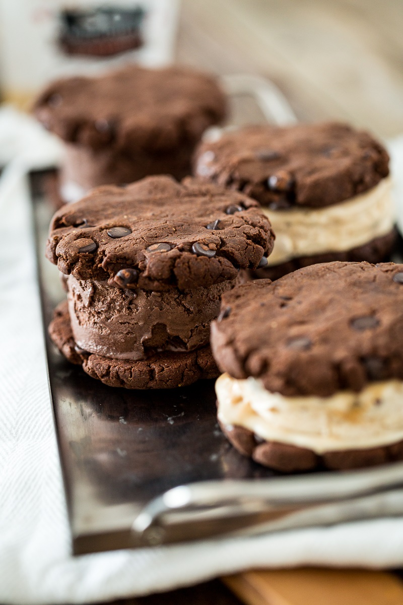 20 Dairy-Free Recipes Using Chocolate Ice Cream (Triple Chocolate Ice Cream Sandwiches pictured)