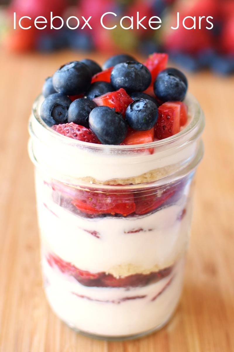 Dairy free Icebox Cake Jars! Recipe includes Full Cake instructions & Red, White & Blueberry option