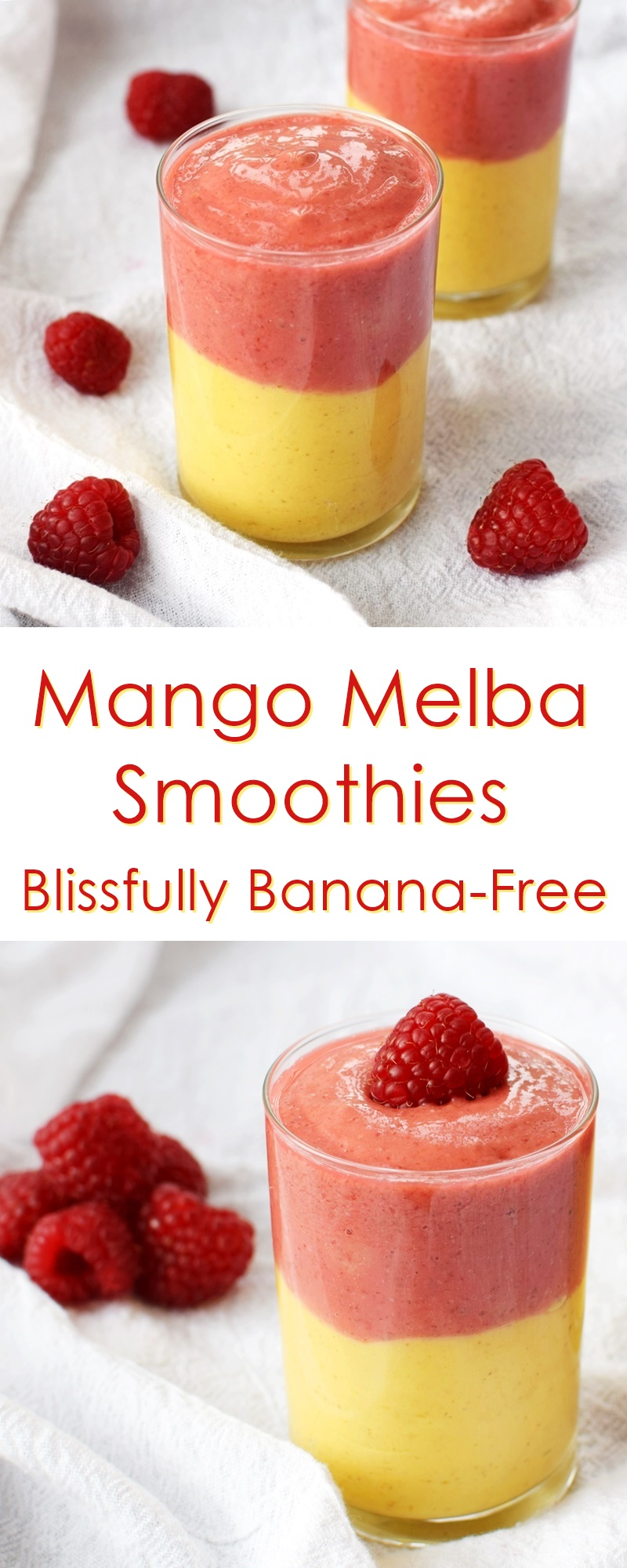 Mango Melba Smoothies Recipe - a tropical twist on a classic flavor, but healthier, dairy-free, nut-free, banana-free and vegan.