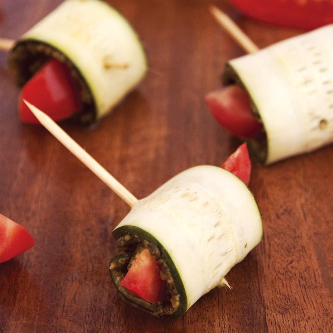 Raw Zucchini Roll Ups with Presto Pesto (dairy-free, gluten-free, vegan & paleo recipe)
