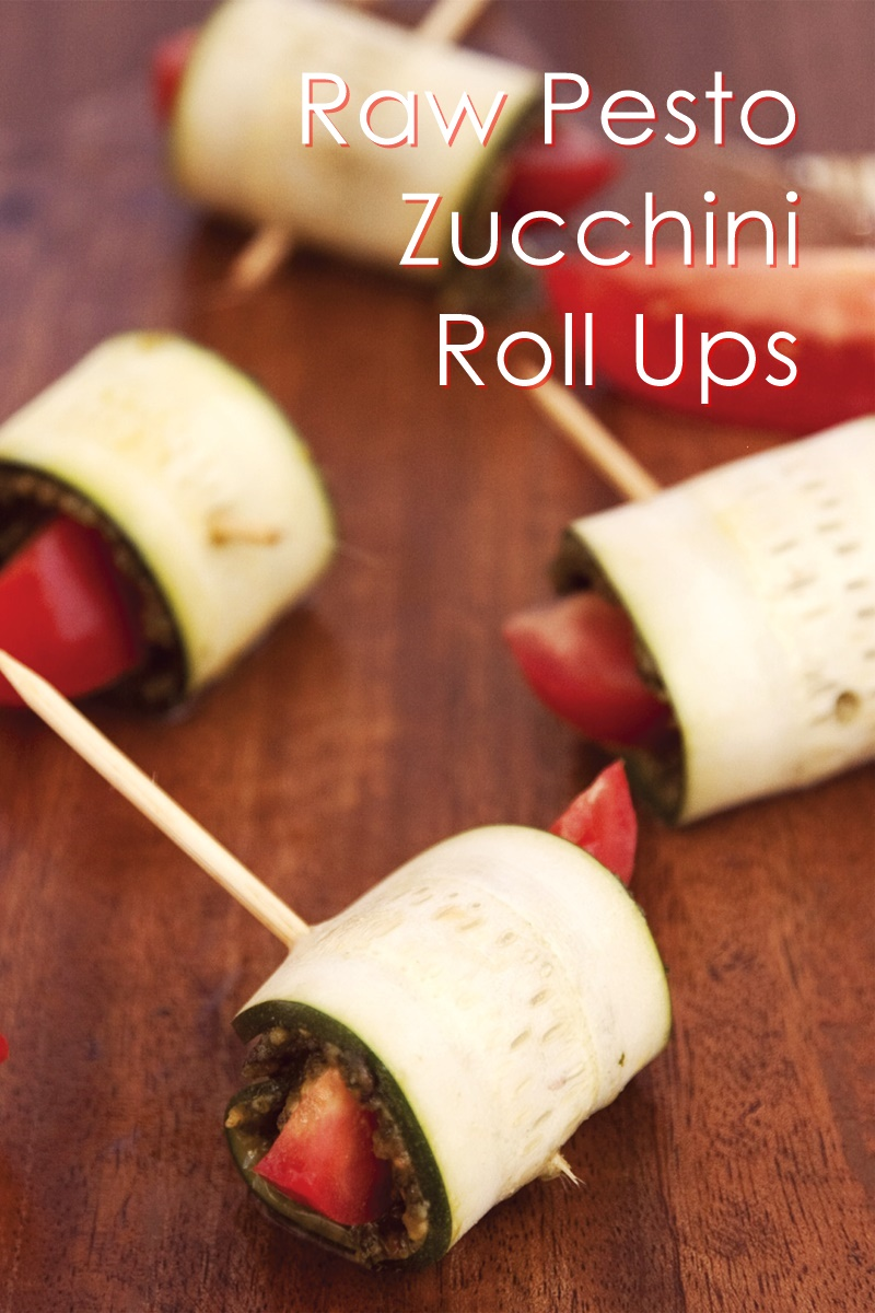 Raw Zucchini Roll Ups with Presto Pesto (dairy-free, gluten-free, and vegan recipe)