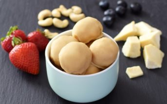 Dairy Free White Chocolate Ice Cream Bon Bons - made w/ a quick homemade vegan white chocolate shell. Gluten-free optional.