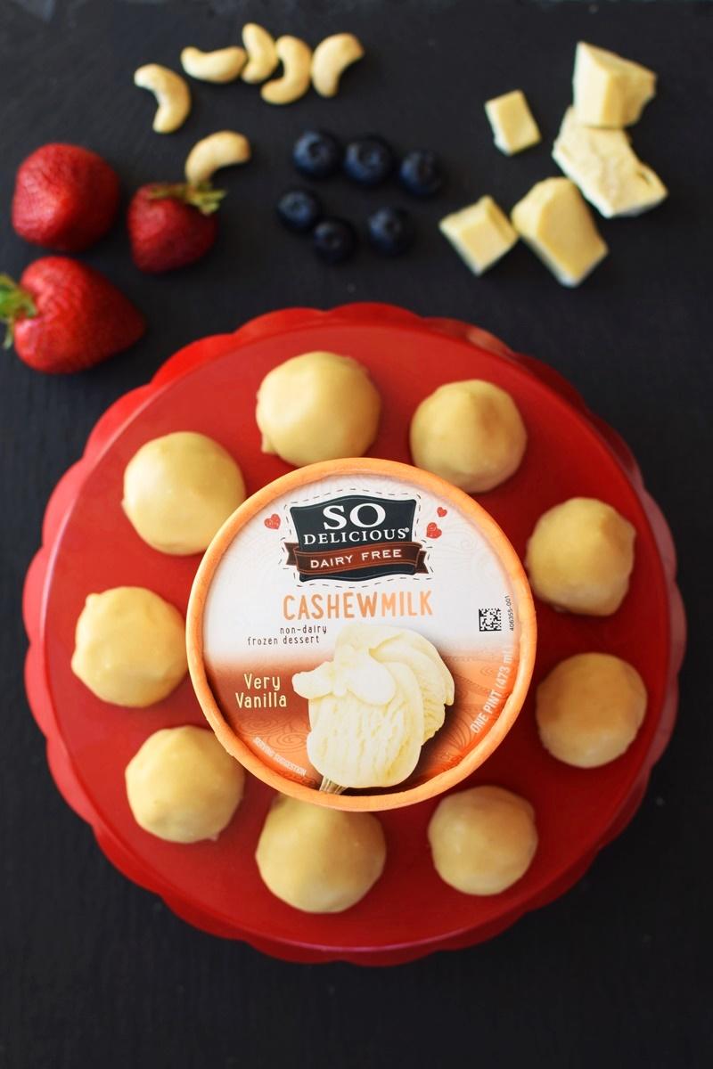 Dairy Free White Chocolate Ice Cream Bon Bons - made w/ a quick homemade vegan white chocolate shell. Gluten-free optional.