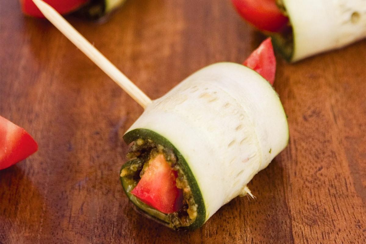 Raw Zucchini Pesto Snacks that are Plant-Based & Keto-Friendly - also dairy-free, gluten-free, grain-free, and paleo!