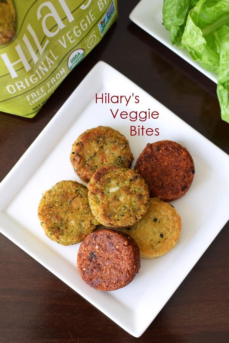 Hilary's Veggie Bites - slider-sized versions of their burgers; still vegan, gluten-free, top allergen-free, organic and healthy.