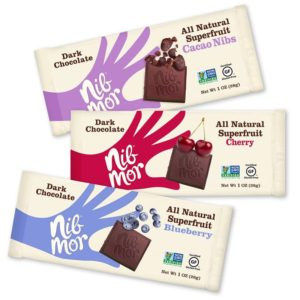 NibMor All Natural Dark Chocolate Bars - Their Superfruit line-up is dairy-free and includes Blueberry, Cherry & Cacao Nib flavors - SO good!